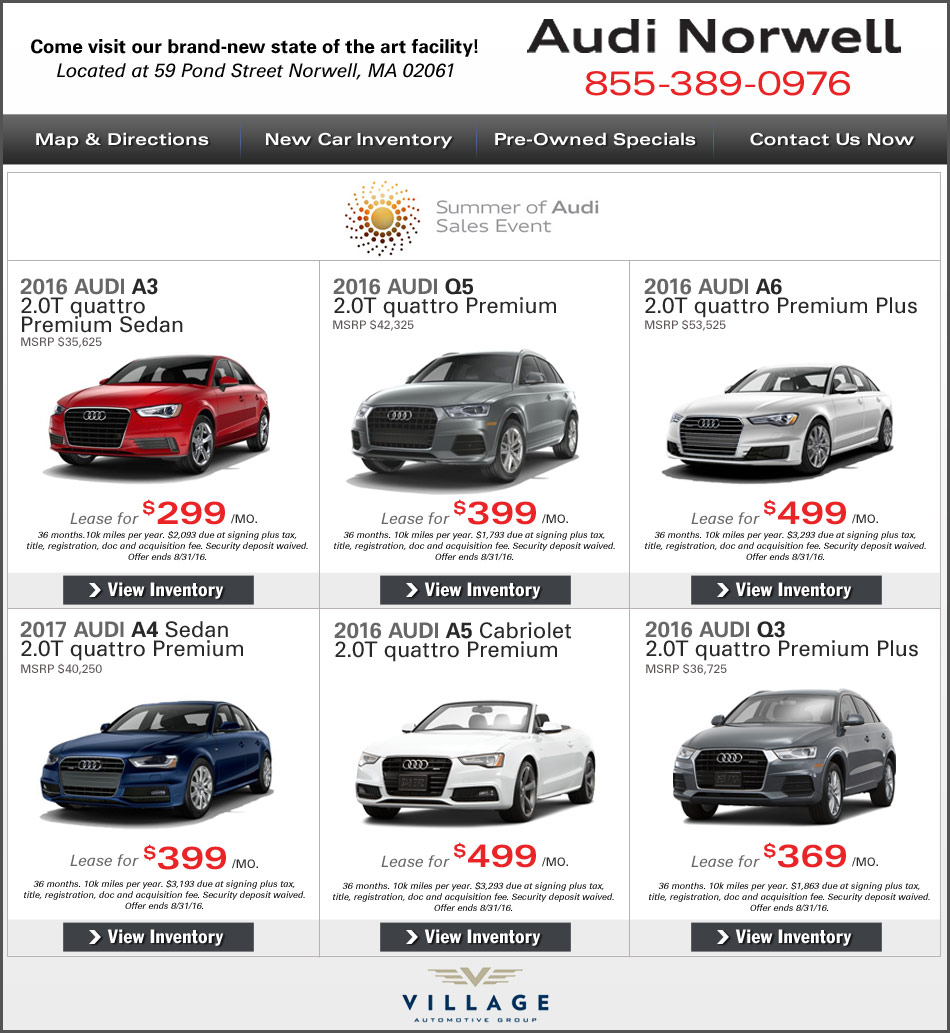Audi Lease Offer: Greater Boston New Car Deals At Audi Norwell. Lease Or Buy