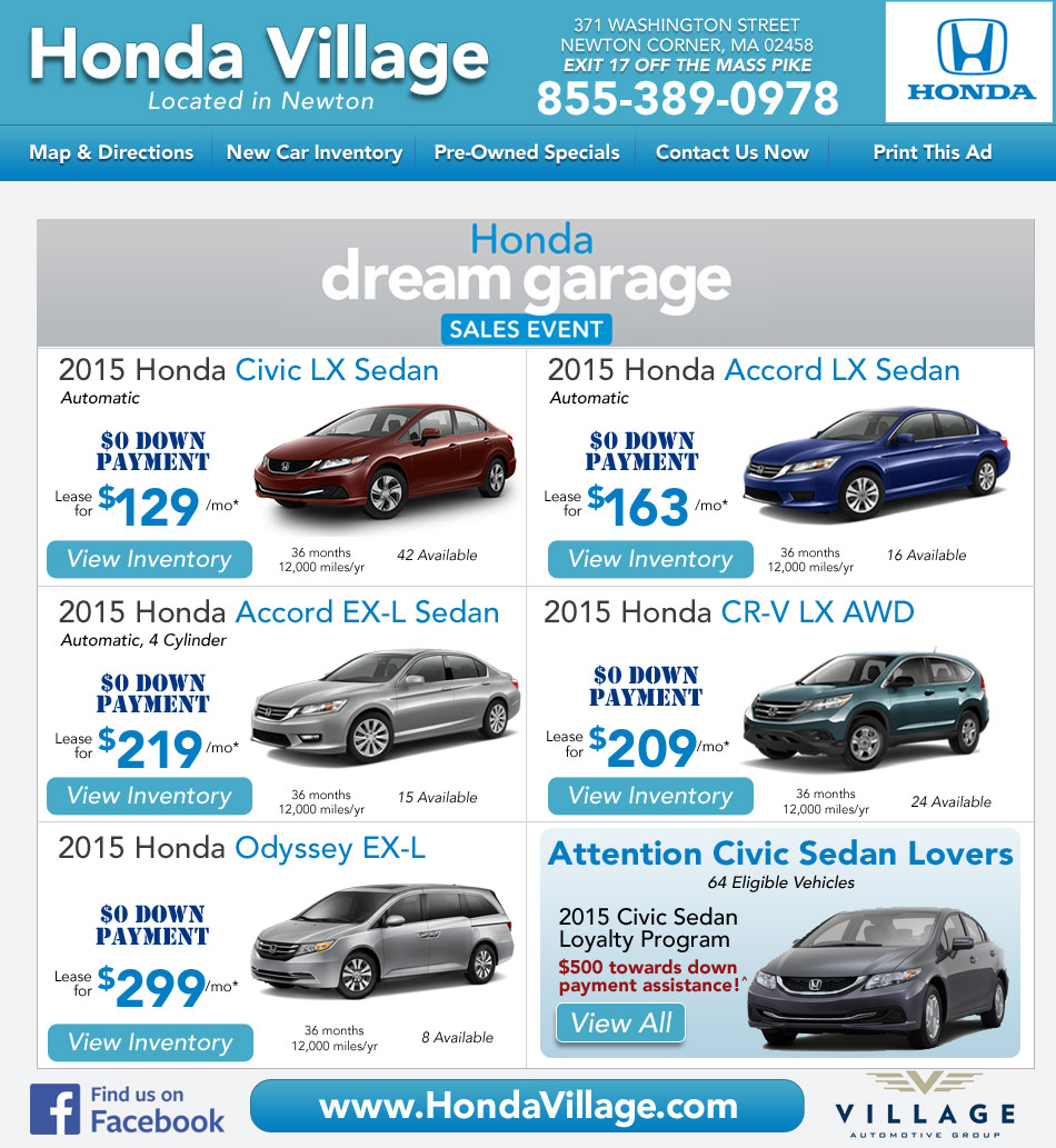 Newton, MA Honda Dealership : Honda Village MA New Car Deals