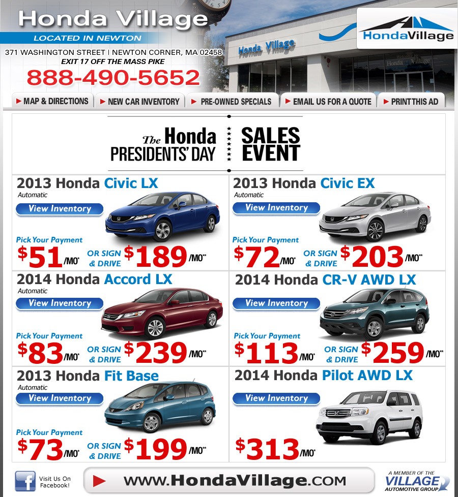Newton Ma Honda Dealership Honda Village Ma New Car Deals