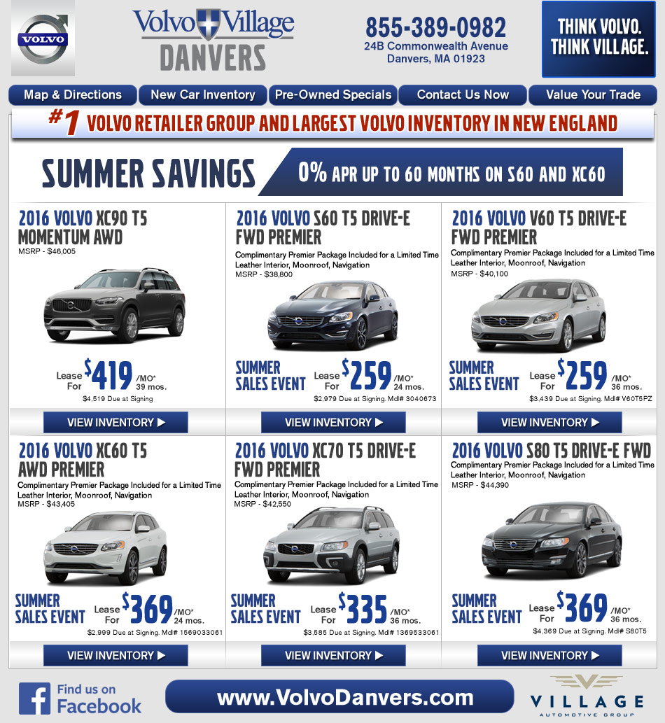 Volvo Lease Rates: Danvers, MA Volvo Dealership : Volvo Village MA New Car Deals