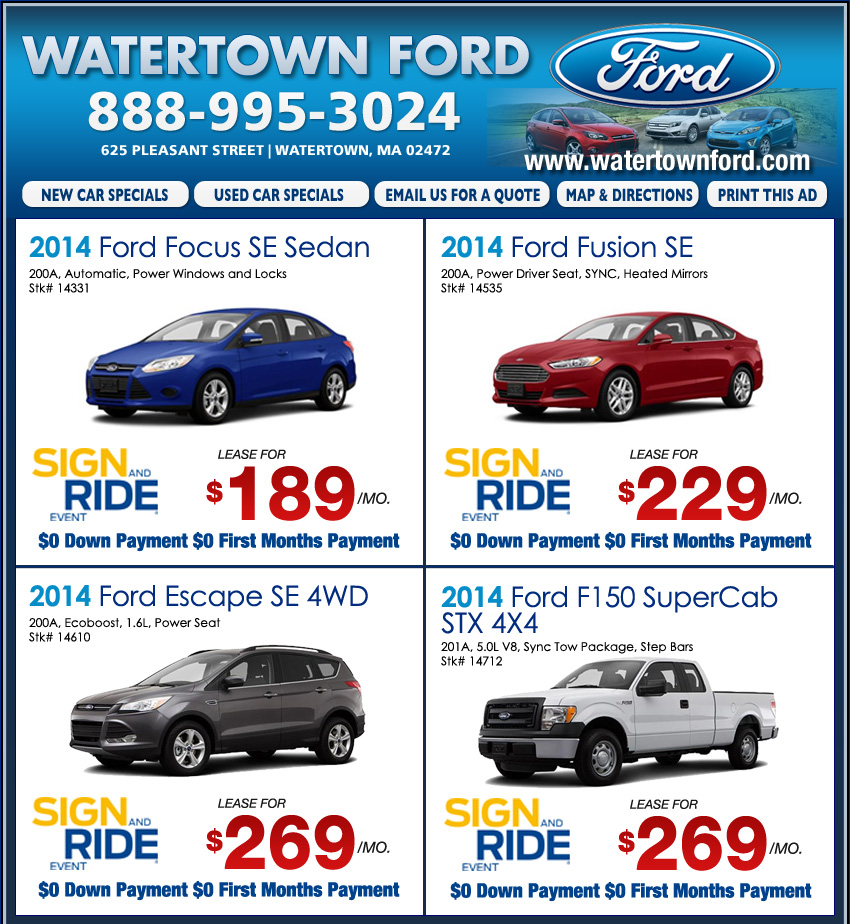 $0 Down Lease Specials >> Watertown Ford: Boston Area Ford Dealers - Find Your Ford Now!