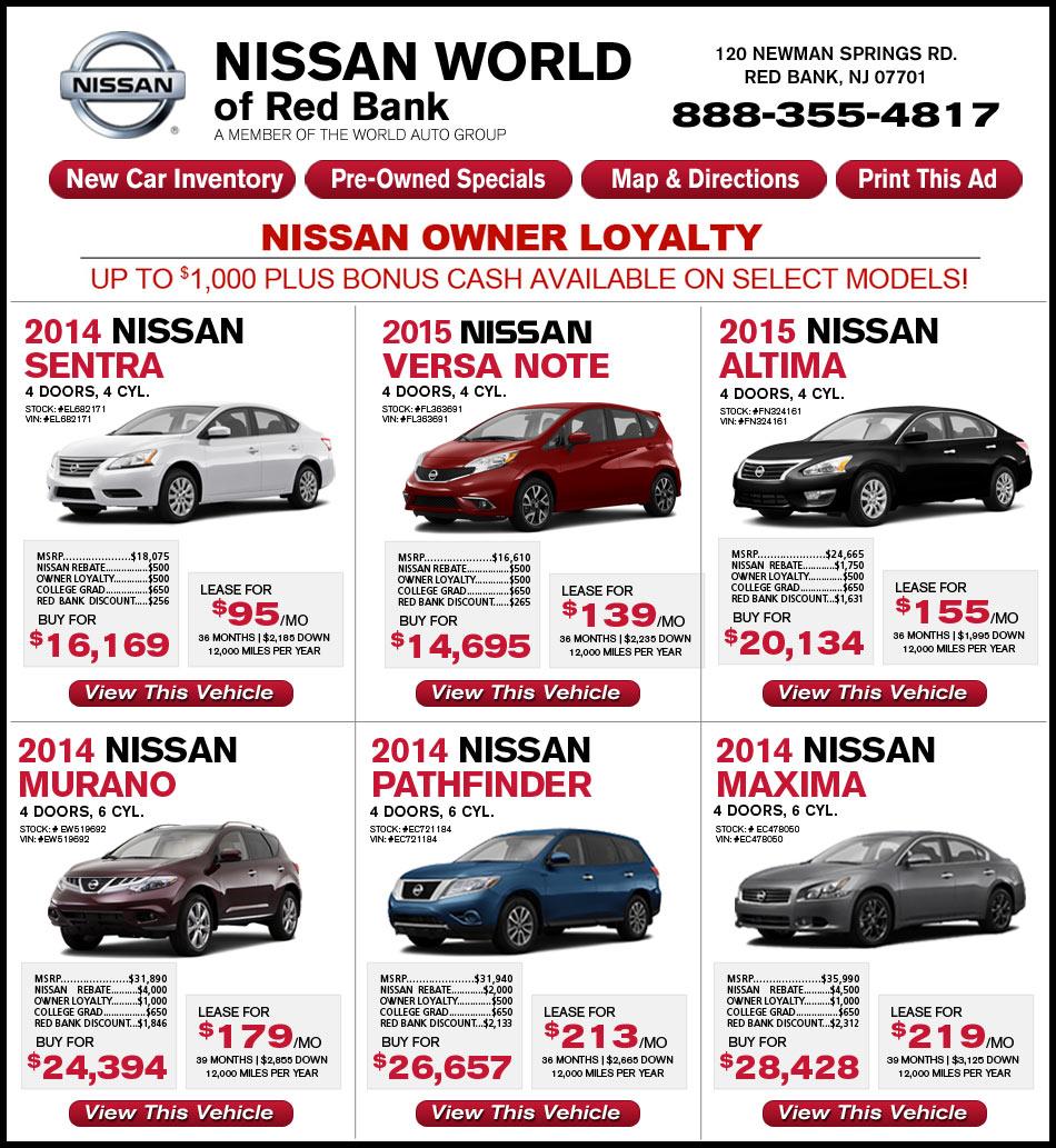 nissan world of red bank new car deals. Black Bedroom Furniture Sets. Home Design Ideas