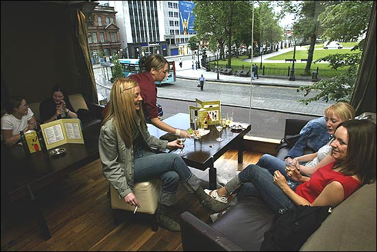 ... 23 (blonde On Couch), And Louise Brennan, 24, Enjoyed Drinks And Tappas  At The Apartment, One Of The Downtown Belfast Bars Popular With Young  People.