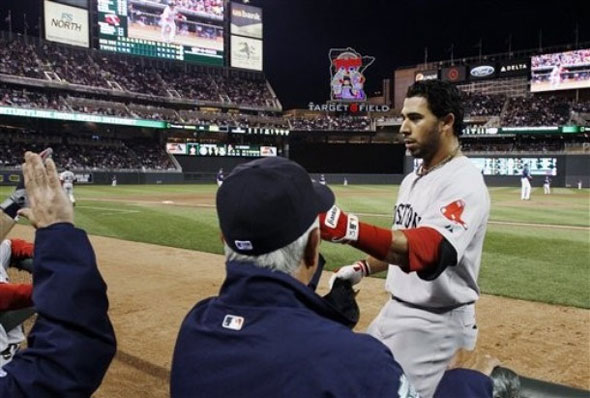 <strong>Mike  Aviles celebrates in the dugout after his solo home run off Minnesota Twins pitcher Matt  Maloney in the fourth inning of a baseball game, Tuesday, April 24, 2012, in Minneapolis.