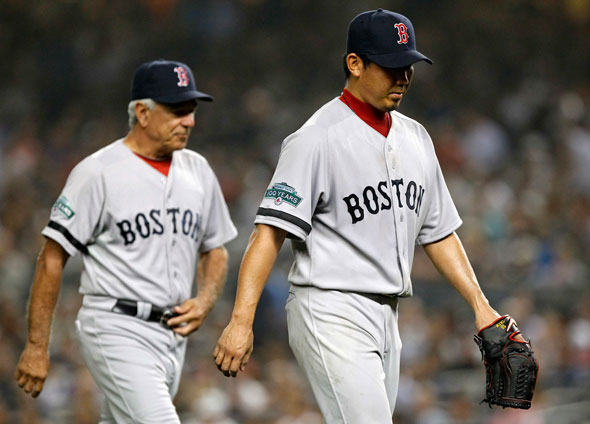 Bobby Valentine and Dice-K Matsuzaka leave the mound for the last time in the Bronx