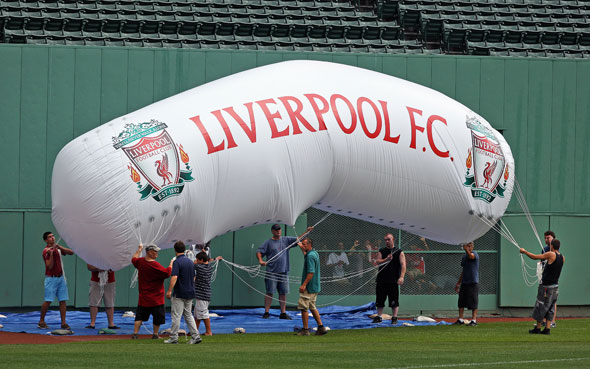 The Liverpool Football Club held a workout and press conference at Fenway Park today in anticipation of Wednesday night's friendly match vs. Roma. Here a giant