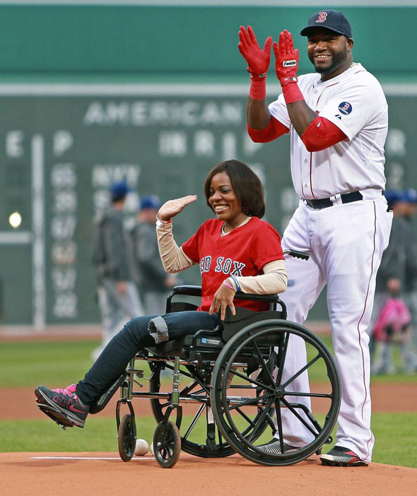 Before the game, the Red Sox honored Marathon bombing survivor Mery Daniel, who was wheeled to the mound by Ortiz where she delivered the game ball.