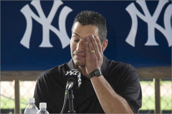 Andy Pettitte of the New York Yankees speaks to the media during his press conference to discuss his HGH (Human Growth Hormone) use on February 18, 2008 at Legends Field in Tampa, Florida.