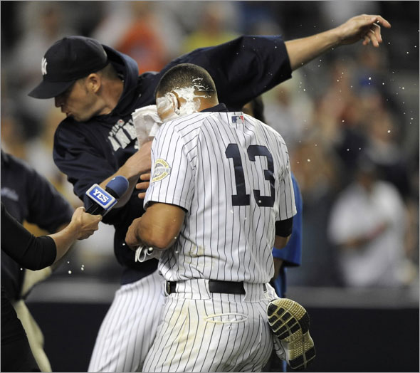New York Yankees pitcher A. J. Burnett stuffs a shaving cream