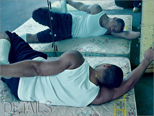 Alex Rodriguez stretches out and stares at his own reflection in this photo for Details magazine.