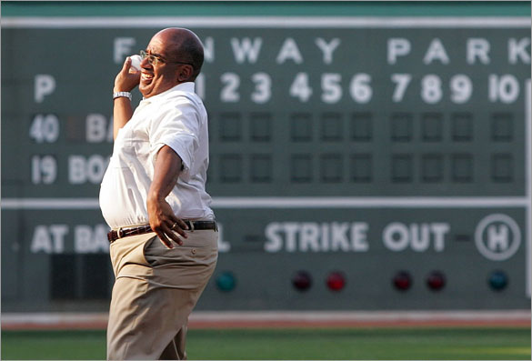 Weatherman Al Roker throws a ceremonial first pitch as the Boston Red Sox host the Orioles at Fenway Park in Boston, MA Tuesday, June 10, 2008.