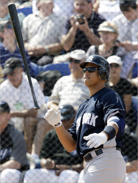 New York Yankees' Alex Rodriguez flips his bat after swinging and missing a pitch against Toronto Blue Jays pitcher Ricky Romero during the fourth inning of their spring training opening baseball game in Dunedin, Fla., Wednesday, Feb. 25, 2009. Rodiguez hit a two-run on the next pitch.