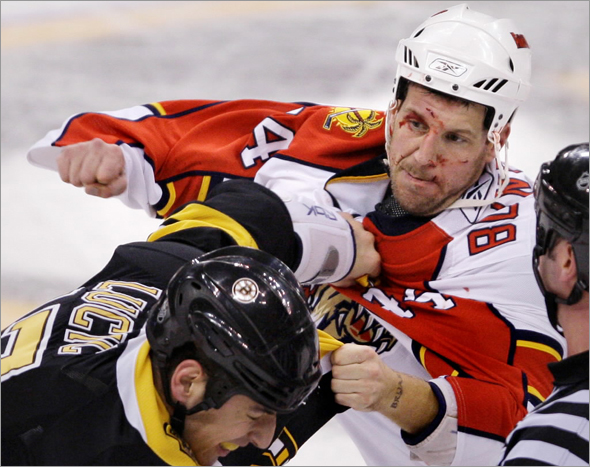Florida Panthers defenseman Nick Boynton, right, throws a punch during a fight with Boston Bruins left wing Milan Lucic during the second period of their NHL hockey game in Boston, Friday