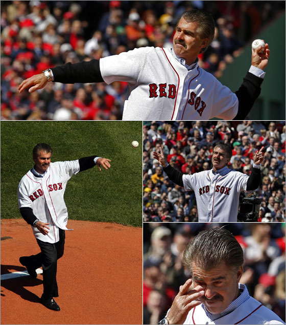 Former Red Sox star Bill Buckner throws out the first pitch during a standing ovation.