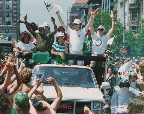 6/10/1986 Boston Celtics celebration parade comes down Boylston Street