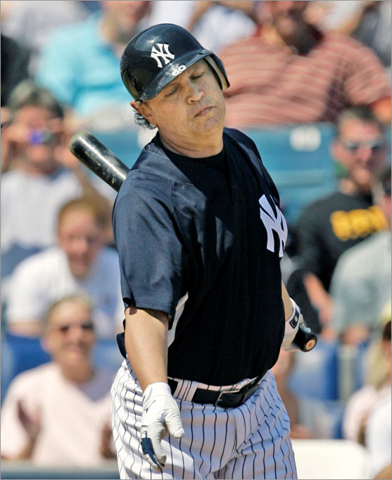 Actor and comedian Billy Crystal strikes out in his only at bat as designated hitter during the New York Yankees spring training baseball game against the Pittsburgh Pirates at Legends Field in Tampa, Fla.,Thursday, March 13, 2008. (AP Photo/Kathy Willens)