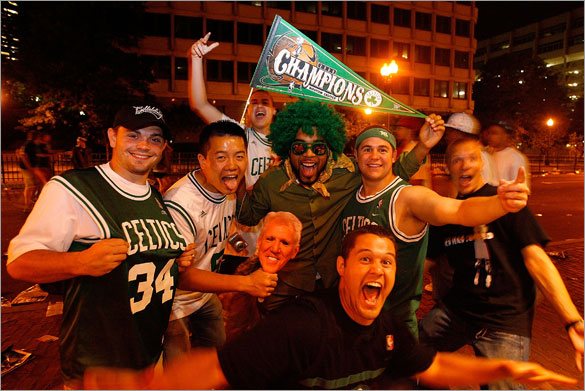 Fans celebrate outside of TD Banknorth Garden after the Boston Celtics defeated the Los Angeles Lakers in Game Six of the 2008 NBA Finals on June 17, 2008 in Boston, Massachusetts.