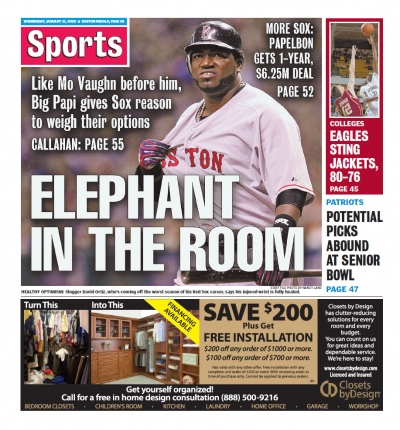 Boston Herald sports back page Jan. 21, 2009