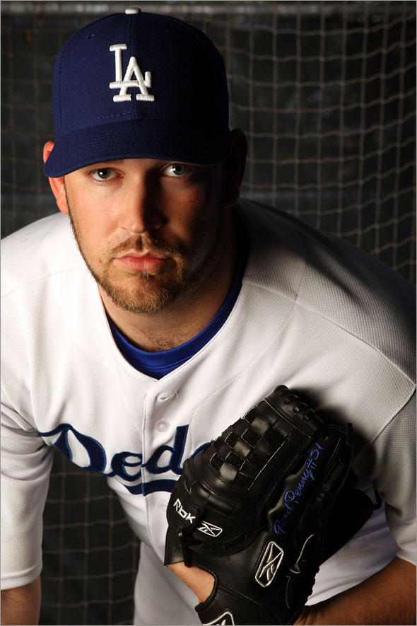 Brad Penny poses during Dodgers Photo Day on February 24, 2008 at Holman Stadium in Vero Beach, Florida.