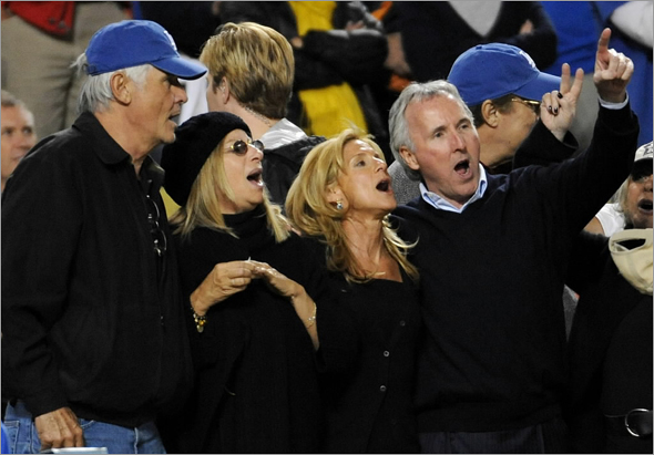 (L-R) Actor James Brolin, singer Barbra Streisand, Jamie McCourt and owner of the Los Angeles Dodgers Frank McCourt watch Game 4 against the Philadelphia Phillies in the National League Championship Series during the 2008 MLB playoffs on October 13, 2008 at Dodger Stadium in Los Angeles