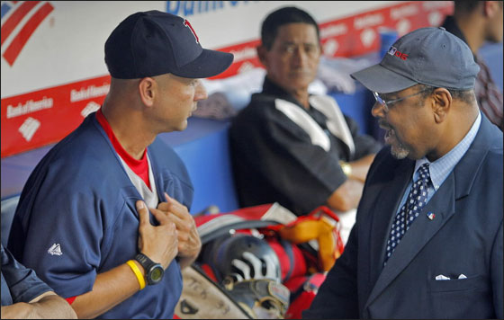 Major league compliance man Bob Watson was in the Boston dugout before the game, and Red Sox manager Terry Francona showed him that he indeed did have his regulation game jersey on underneath his ever present pullover.