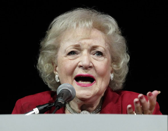 Actress Betty White speaks during the American Women in Radio and Television 2010 Genii Awards at the Skirball Cultural Center on April 14, 2010 in Los Angeles, California.