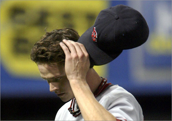 Red Sox starting pitcher Clay Buchholz leaves the game after being pulled by manager Terry Francona during the fifth inning of their MLB American League baseball game against the Minnesota Twins at the Metrodome in Minneapolis, May 12, 2008.