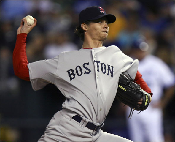 Red Sox starting pitcher Clay Buchholz throws in the first inning of a baseball game against the Kansas City Royals on Thursday, Sept. 24, 2009, in Kansas City, Mo.