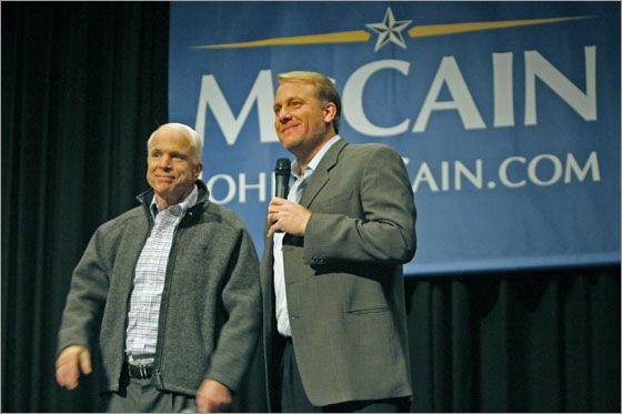 Manchester, NH 12/05/07: During a presidential campaign event held in the auditorium of the Derryfield School, republican candidate Sen. John McCain was joined by Boston Red Sox pitcher Curt Schilling.