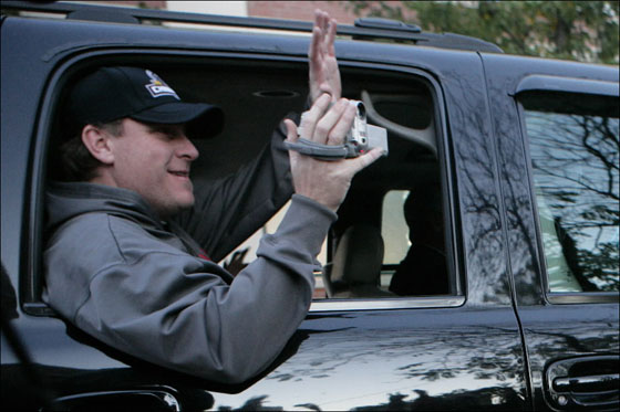 Curt Schilling greeting his fans while leaving Fenway Park on Monday October 29, 2007