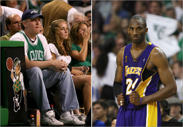 Curt Schilling sits courtside at Game Two of the 2008 NBA Finals. Kobe Bryant stands on the court during a break in play against the Boston Celtics in the second half in Game 2