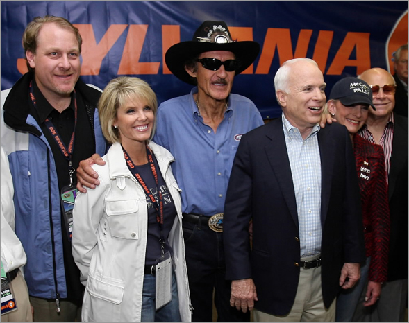 Red Sox pitcher Curt Schilling, Shonda Schilling, former NASCAR driver Richard Petty (L), Republican presidential nominee John McCain (R-AZ), his wife Cindy McCain and promoter and owner, CEO of NASCAR track owner Speedway Motorsports, Inc. Bruton Smith