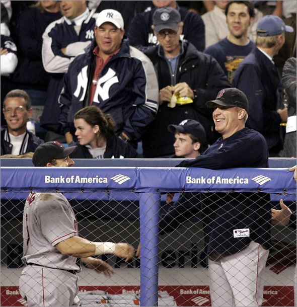 Curt Schilling in dugout with Kevin Millar 2004 ALCS in New York