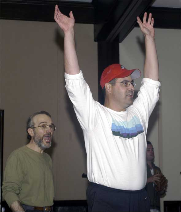 July 2003: Former Red Sox General Manager Dan Duquette is in rehearsal for his role as Mr. Van Buren in the play Damn Yankees