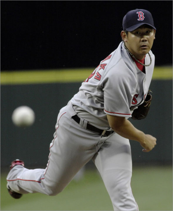 Daisuke Matsuzaka delivers a pitch against the Seattle Mariners during the second inning of their American League baseball game in Seattle, Washington, July 22, 2008