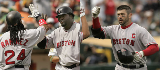 Papi and 'Tek go deep in Oakland. Reuters Photos
