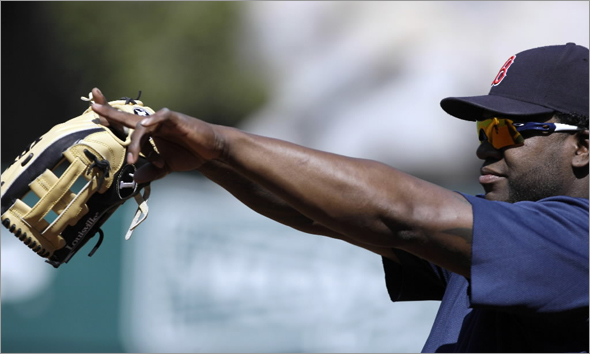 Red Sox designated hitter David Ortiz points at a teammate during baseball practice for the AL division series in Anaheim, Calif., Tuesday, Sept. 30, 2008. The Red Sox take on the Los Angeles Angels in Game 1 on Wednesday.
