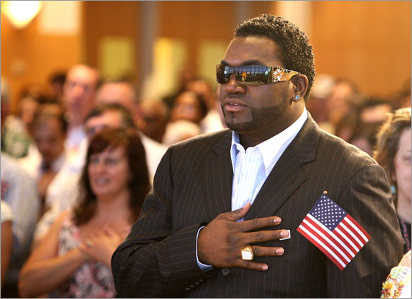 New U.S. Citizen David Ortiz pledges allegiance after an induction ceremony held at the JFK Library