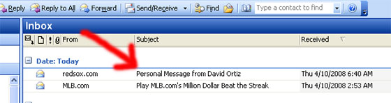 Personal e-mail from Big Papi