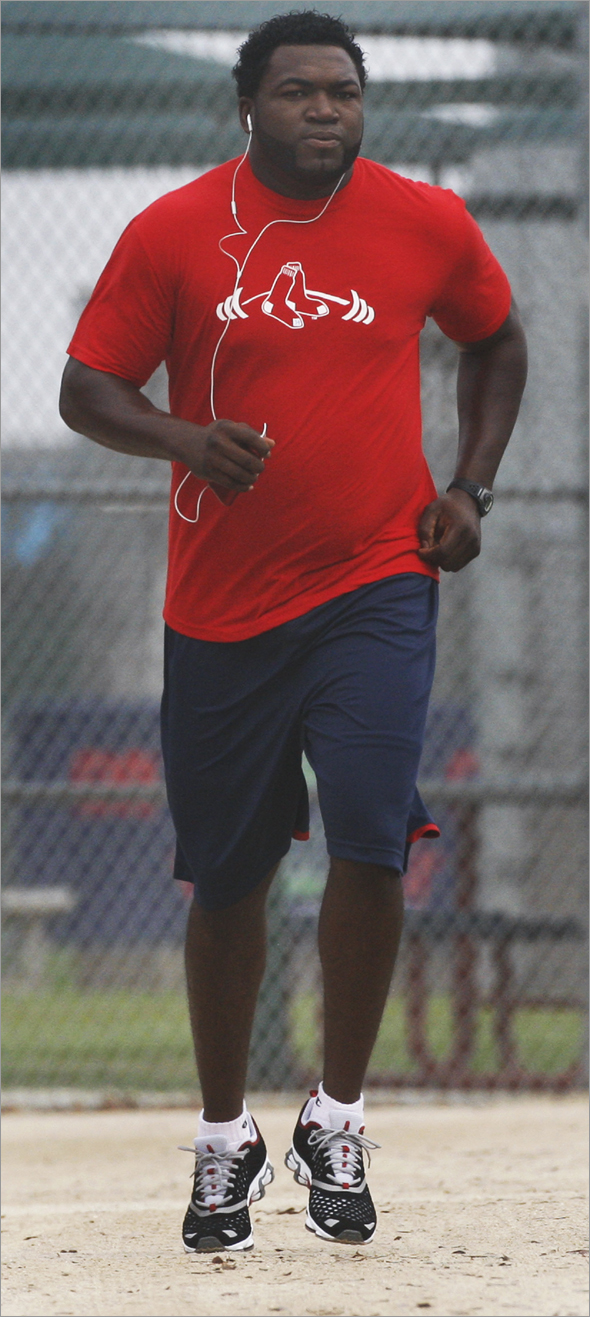 Red Sox DH David Ortiz arrived in camp today, and he did some solo running around a foggy field in the morning.