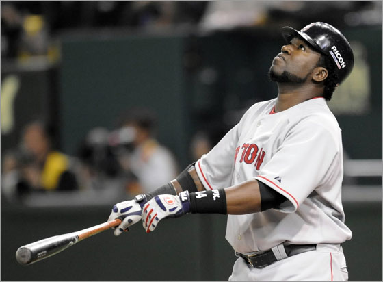 David Ortiz watches his foul fly in the third inning of the 2008 MLB Japan Series season's opening game against Oakland Athletics at the Tokyo Dome on March 26, 2008.