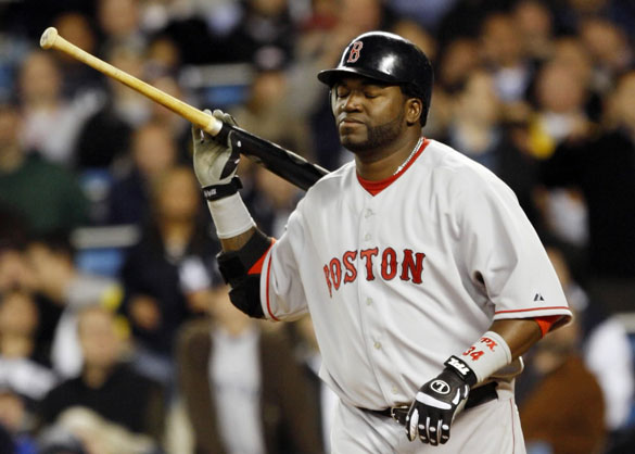 Boston Red Sox designated hitter David Ortiz reacts to popping out with men on base in the eight inning of their MLB American League Baseball game against the New York Yankees at Yankee Stadium in New York, April 16, 2008.