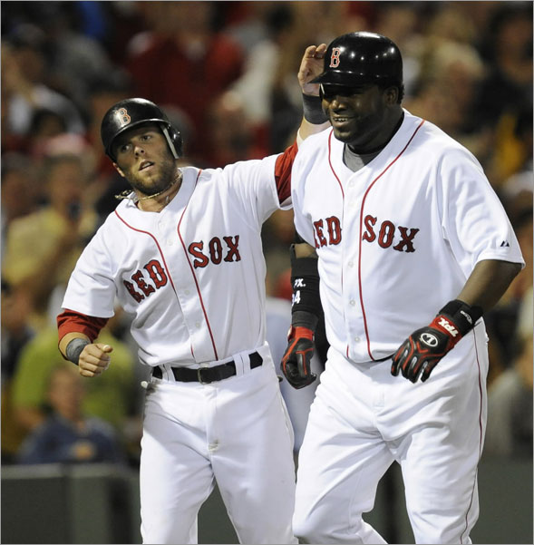 Red Sox second baseman Dustin Pedroia congratulates teammate David Ortiz after Ortiz hit a home run, driving in Pedroia during the 4th inning. The Boston Red Sox host the New York Yankees