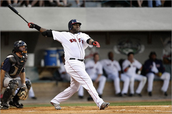 David Ortiz watches the flight of his leadoff HR in the 4th inning. The HR came in Ortiz's second at bat in the first game back at Pawtucket in his rehab for a injured wrist.