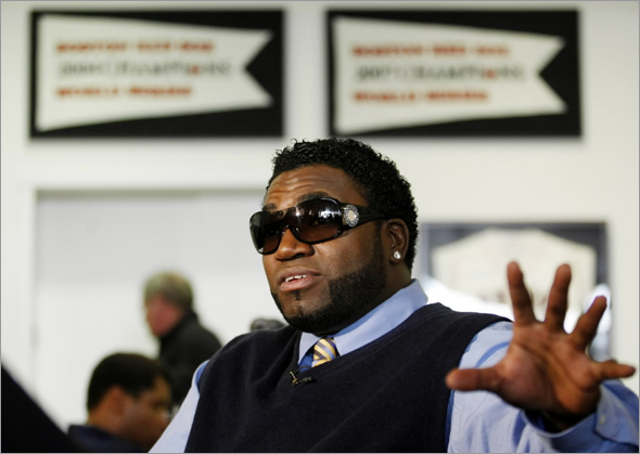 David Ortiz speaks to the news media about his charity golf tournament in the Dominican Republic