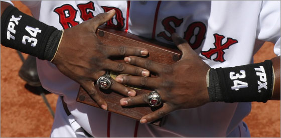 David Ortiz with his two World Series rings