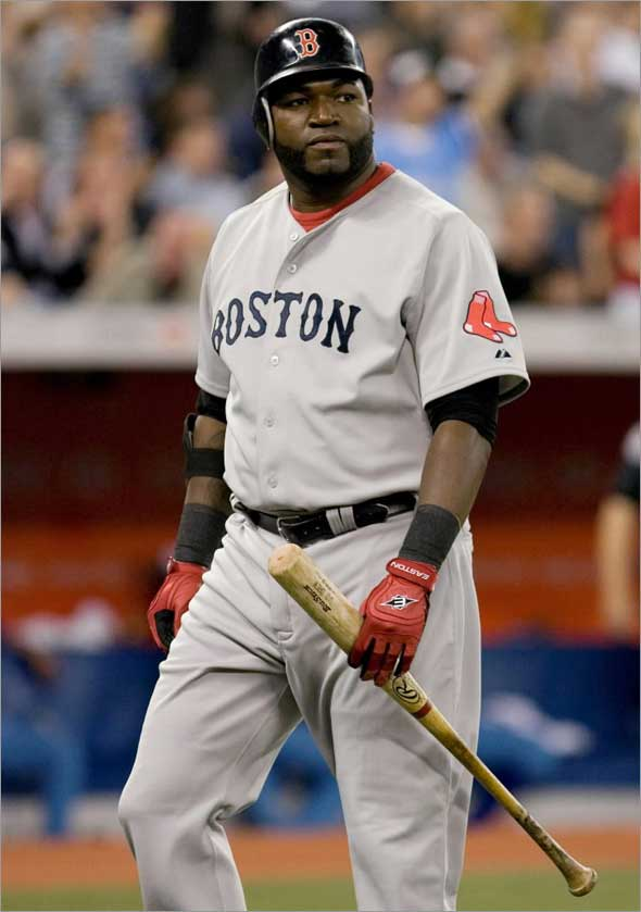 Red Sox designated hitter David Ortiz walks back to the dugout after lining out to first base during the third inning of baseball game action against the Toronto Blue Jays in Toronto on Friday, May 29, 2009.
