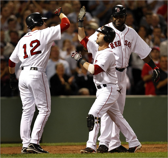 Once again Boston Red Sox second baseman Dustin Pedroia was at the center of it all with a 3 run home run in the 4th inning.