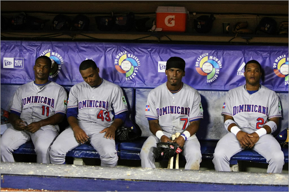 SAN JUAN, PUERTO RICO - MARCH 10: Jose Guillen, Damaso Marte, Jose Reyes, and Robinson Cano of the Dominican Republic react after losing 3-2 against the Netherlands during the 2009 World Baseball Classic Pool D match at Hiram Bithorn Stadium March 10, 2009 in San Juan, Puerto Rico.