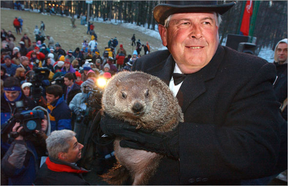 Grady Little came out from his stump at Gobbler's Knob on Groundhog Day, Monday, Feb. 2, 2009, in Punxsutawney, Pa. The Groundhog Club said Grady saw his shadow and predicted six more weeks of winter.